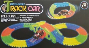 Kids 128 Pieces Glow In The Dark NOCTILUCENT TRACK CAR -Create Endless Colourful