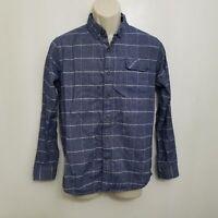 Vissla Mens Carpenteria Shirt Small Blue White Plaid Long Sleeve Button Pocket
