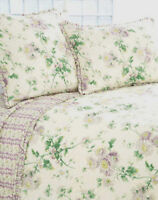 Pine Cone Hill Alessa Lavender & Cream Floral Twin Quilt with Ruffled Edges