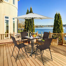 5Pc Rattan Patio Furniture Set 4 Bar Stool Folding Chair + Bar Table W/Glass Top