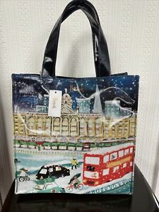 HARRODS TRAVELLING HOME FOR CHRISTMAS SMALL SHOPPER BAG LINED NEW