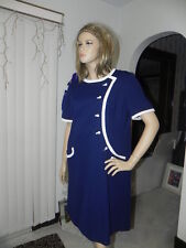 Vintage Dress Cute Dark Blue white trim..Made by Lady Mendel Knits of Distiction