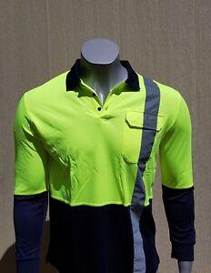 BAMBOO POLO SHIRT - Men - Long Sleeve - Reflectors - Yellow - Hi Vis Safety Wear