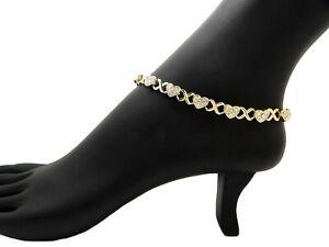 """Women's Stone Filled Heart XO Chain 7mm 10"""",11"""",12"""" Anklet Ankle Bracelet RAK115"""