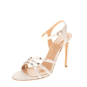 BIANCA DI Leather Ankle Strap Sandals Size 38 UK 5 US 8 Studded Made in Italy