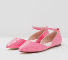 Faith By Debenhams Ali Womens UK 4 EU 37 Pink Patent Faux Leather Two Part Flats