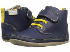 NIB Robeez Shoes Mini Shoez Nick Boot Navy Blue Yellow Bootie Hi Top 3-6m 2
