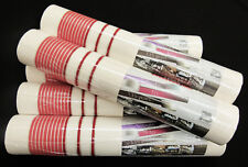 13204-60-) 6 Rollen Design Vliestapeten gestreift weiß rot & silber Glanzeffekt