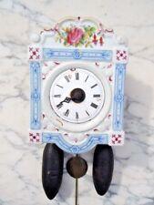Horloge pendule porcelaine Paris cartel double sonnerie d'époque fin 18ème
