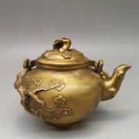 """4"""" Chinese old antique brass Plum blossom Tiliang cover Teapot"""