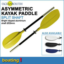 Premium 2.17m Yellow Aluminium Asymmetric Kayak Paddle Canoe (Split Shaft)