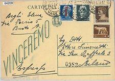 64209 - ITALIA RSI - STORIA POSTALE: INTERO POSTALE in corso C97 RICOPERTO! 1944