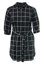 Womens 16-26 New Black Grey White Check Drop Shirt Top Shirt Dress Zip Belt Ties