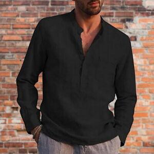 Summer Mens Cotton Linen T Shirt Long Sleeve Blouse Casual Loose Tee Tops UK