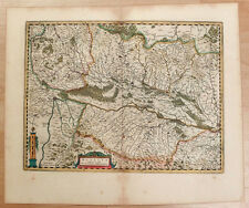 Carte c1650 JANSSONIUS in-folio map couleurs ALSACE Sundgau Brisgau Colmar 79
