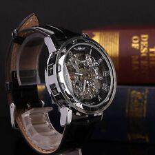 Classic Men's Black Leather Dial Skeleton Mechanical Sport Army Wrist Watch