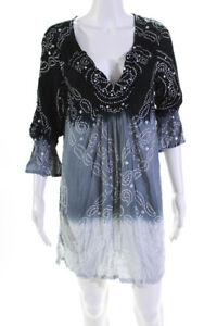 Coolchange Womes 3/4 Sleeve Ombre Spotted Print Dress Blue Size Small