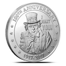2 - 1 oz .999 Silver Rounds - Uncle Sam Wants You - 100th Anniversary - BU - New