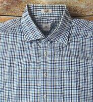 Peter Millar Mens Long Sleeve Button Up Cotton Shirt Sz XL Blue Check