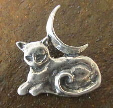 Sterling Silver Cat Familiar with Moon Pendant Wicca