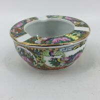 Famille Rose Stamp Hand Painted Gold Trim Porcelain Ashtray Butterfly Lotus