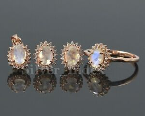 Natural Rainbow Moonstone 925 Sterling Silver Pendent Ring Earring Jewelry Set