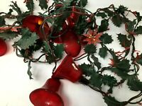 Vintage Noma Red Hard Plastic Christmas Bells Holly Berries Lighted Strand