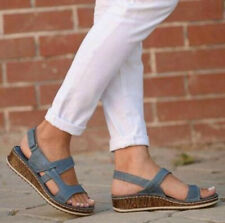 US 8 Womens Slingback Sandals Wedge Heels Open Toe Buckle Casual Shoes Comfort