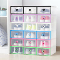 5/8/20 Foldable Drop Front Shoe Box Transparent Case Stackable Organizer Storage