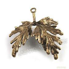 40pcs Wholesale Vintage Bronze Charms Two Leaves Alloy Pendants Fit Findings JJ