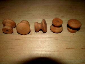 "TEN (10) BRAND NEW UNFINISHED CHERRY 1"" ROUND WOOD CABINET KNOBS / PULLS KX"