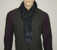 "NEW John Varvatos Scarf 75"" x 12"" Navy Stripe 100% Merino Wool Unisex"