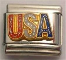 USA RED WHITE BLUE AUTHENTIC ENAMEL ITALIAN CHARM 9MM CLASSIC PATRIOTIC RARE