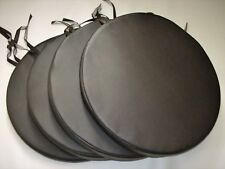 """4 Brown Bistro Round Dining Garden Chair Cushions Seat Pads Faux Leather 14 ½"""""""