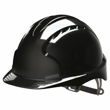 JSP Black Evo2 Vented Safety Helmet Hard Hat Standard Peak Builders Work PPE