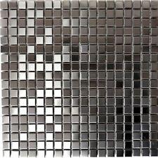 Mosaik silber silver Edelstahl gebürstet matt Fliesenspiegel 129-CE15D 10 Matten