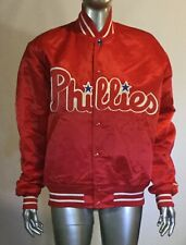 Vintage 90's MLB Starter Diamond Collection Phillies Satin Bomber Jacket M
