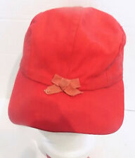 Vintage Red Cloth Flannel Lined Cap with Ear Flaps Red Bow