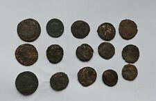 LOT OF 15 ANCIENT ROMAN IMPERIAL BRONZE COINS CONSTANTIUS,CONSTANTINE III-IV c.