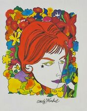 Vintage 1958? Hand Inked Print Head with Flowers by Andy Warhol Listed
