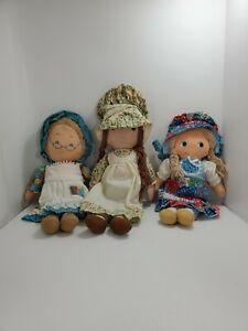 Vintage Holly Hobbie Grandma & Heather Dolls Knickerbocker Lot Of 3