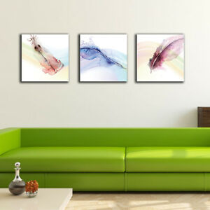 3 70×70×3cm Watercolor Feather Canvas Prints Framed Wall Art Home Decor Gift