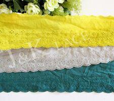 9 cm width Light Grey/ Mustard/ Dark Green Cotton Embroidery Lace Trim