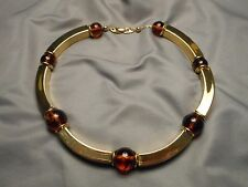 Vintage Napier Modernist Necklace - Curved Gold Tone Links & Faux Amber Beads