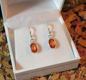 FLAWLESS! Genuine natural Orange Sapphire 1.5ct sterling silver hook earrings 🧡