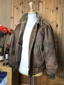 "mens shearling leather sheepskin aviator jacket Uk38"""