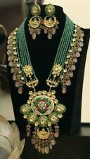 Bollywood Kundan Long Haram Necklace Jewelry CZ Green Emerald Set Raani Haar