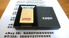 SUPREME ENGRAVED ZIPPO BRASS GOLD LIGHTER FW14 FW 2014