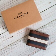NWT Coach F26171 Men's Slim Billfold Wallet with Varsity Stripe