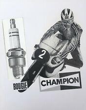 Dessin Vintage Original Encre XXe Publicité Pub Bougie Champion Moto Motard